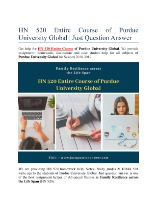 HN 520 Entire Course of Purdue University Global