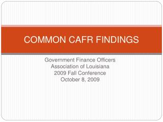 COMMON CAFR FINDINGS