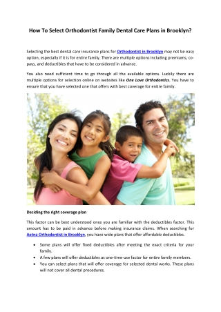 How To Select Orthodontist Family Dental Care Plans in Brooklyn?