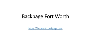 Backpage Fort Worth
