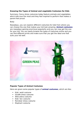 Buy Best Animal Costumes   Vegetable Costumes Only at Bookmycostume