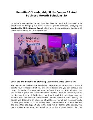 Benefits Of Leadership Skills Course SA And Business Growth Solutions SA