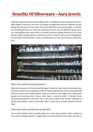 Benefits Of Silverware - Aura Jewels
