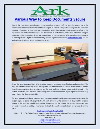 Various Way to Keep Documents Secure
