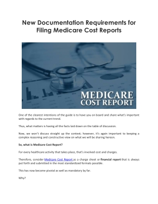New Documentation Requirements for Filing Medicare Cost Reports