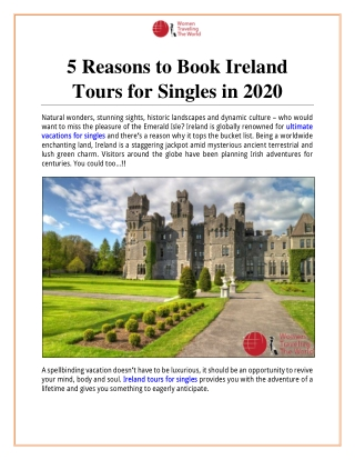 5 Reasons to Book Ireland Tours for Singles in 2020