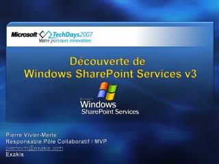 Découverte de  Windows SharePoint Services v3
