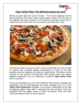 Capri Online Pizza: The delicious pizzas you want