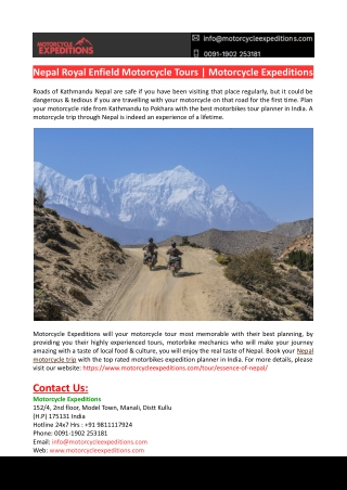 Nepal Royal Enfield Motorcycle Tours-Motorcycle Expeditions
