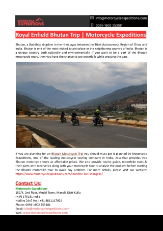 Royal Enfield Bhutan Trip-Motorcycle Expedition