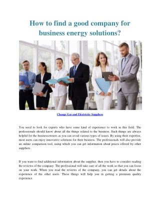 How to find a good company for business energy solutions?