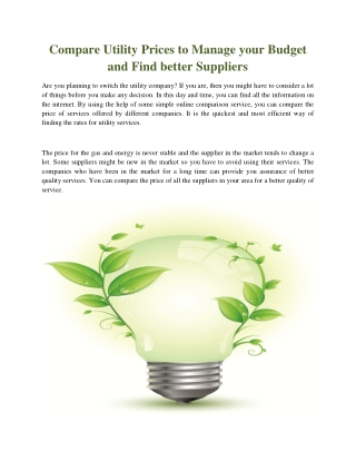 Compare Utility Prices to Manage your Budget and Find better Suppliers