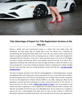 Take Advantage of Expert Car Title Registration Services at the Title Girl