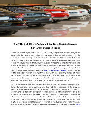 The Title Girl: Offers Acclaimed Car Title, Registration and Renewal Services in Texas