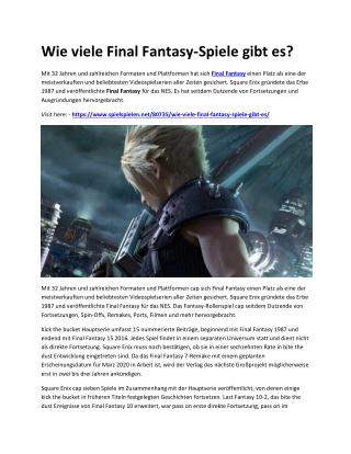 Wie viele Final Fantasy-Spiele gibt es?