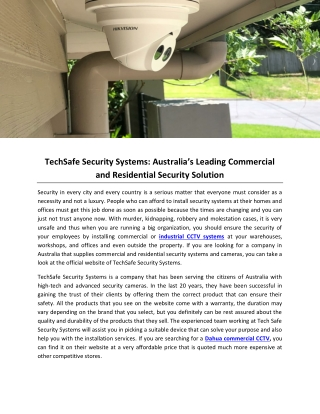 TechSafe Security Systems: Australia's Leading Commercial and Residential Security Solution