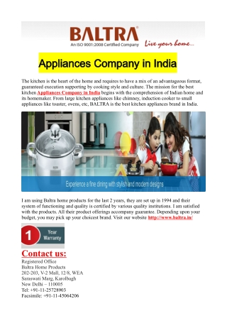 Appliances Company in India
