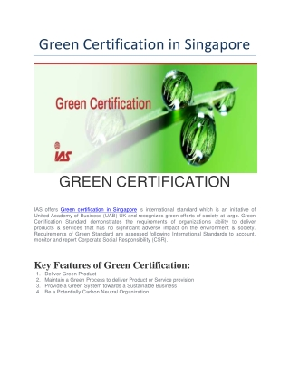 Green Certification in Singapore | Green Certificate For Product in Singapore