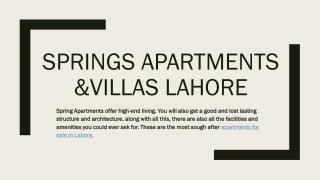 The Springs Apartments Lahore | Great Investment Opportunity