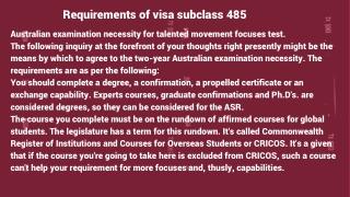 Visa Subclass 485 | 485 Subclass Visa
