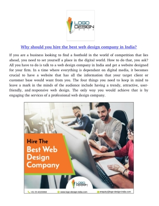 Why should you hire the best web design company in India?