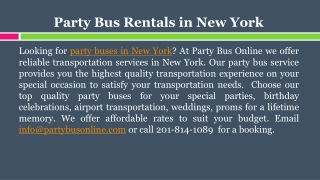 Party Bus Rentals in New York