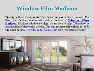 Window Film Madison - Madison Window Services