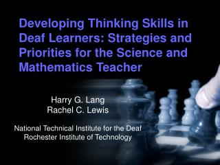 Developing Thinking Skills in Deaf Learners: Strategies and Priorities for the Science and Mathematics Teacher