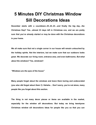 5 Minutes DIY Christmas Window Sill Decorations Ideas