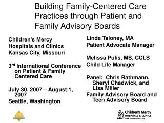 Building Family-Centered Care Practices through Patient and Family Advisory Boards