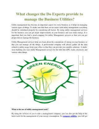 What changes the Do Experts provide to manage the Business Utilities?