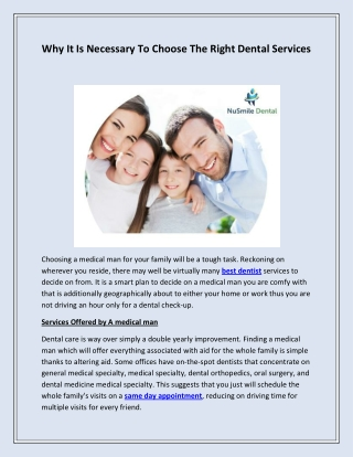 Why It Is Necessary To Choose The Right Dental Services