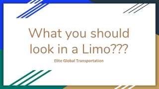 What You Should Look in a Limo?