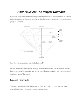 How to select the perfect diamond -Sri Bhavani Jewels