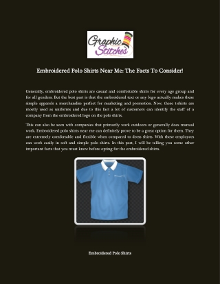 Embroidered Polo Shirts Near Me: The Facts To Consider!