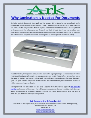 Why Lamination Is Needed For Documents