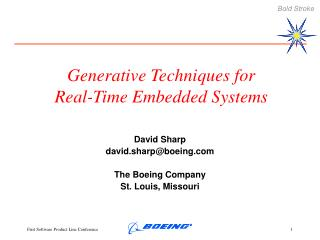 Generative Techniques for Real-Time Embedded Systems