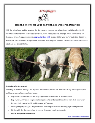 Health benefits for your dog with dog walker in Don Mills