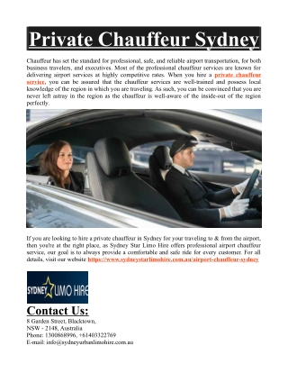 Private Chauffeur Sydney
