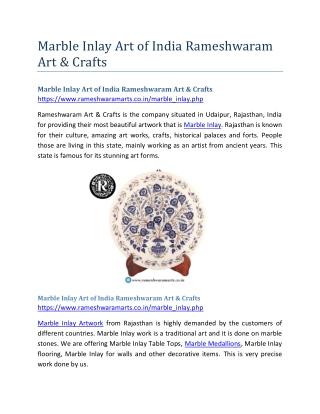 Marble Inlay Art of India Rameshwaram Art & Crafts