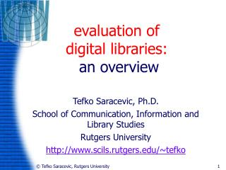 evaluation of  digital libraries:  an overview