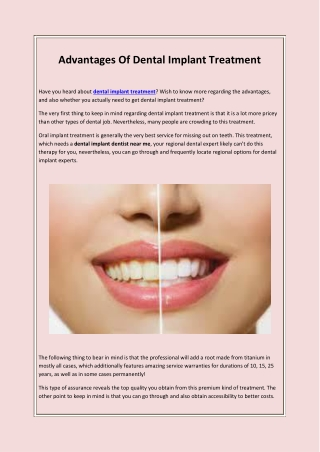 Advantages Of Dental Implant Treatment