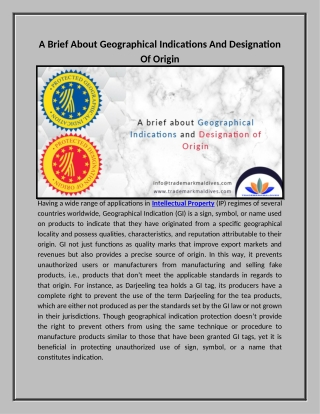 A Brief About Geographical Indications And Designation Of Origin