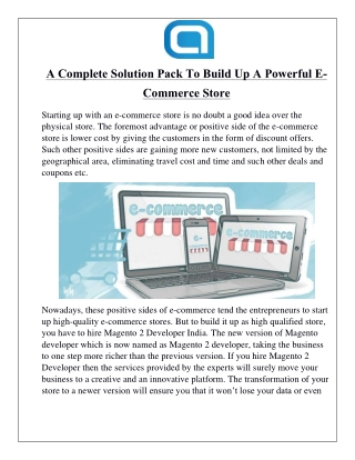 A Complete Solution Pack To Build Up A Powerful E-Commerce Store