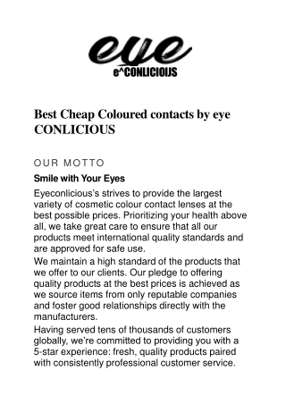 Best Coloured contacts online, Coloured contacts online