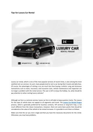 Tips for Luxury Car Rental
