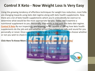 Control X Keto - Now Weight Loss Is Very Easy