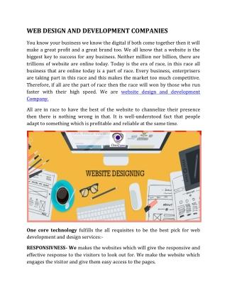 Professional Website Design and Development Company India USA