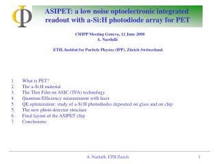 ASIPET: a low noise optoelectronic integrated  readout with a-Si:H photodiode array for PET
