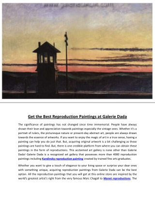 Get the Best Reproduction Paintings at Galerie Dada